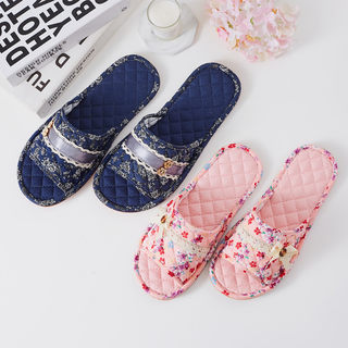 Habitat Arts grid cotton cloth slippers tendon at the end men and women non-slip floor home indoor soft slippers spring and summer