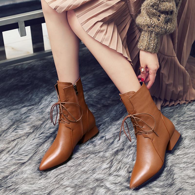 欧美新款马丁靴女真皮系带春秋英伦粗跟尖头平底短靴中筒靴子单靴