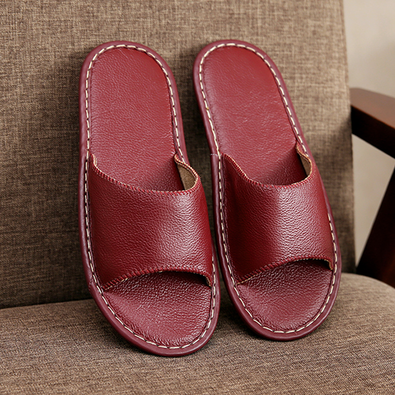 Leather slippers summer South Korea couples home indoor floor non-slip leather slippers female men deodorant home slippers