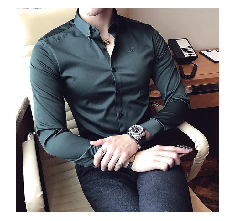 版英伦商务衬衣男刺绣修身纯色长袖衬衫男1015p65新增加绒P75