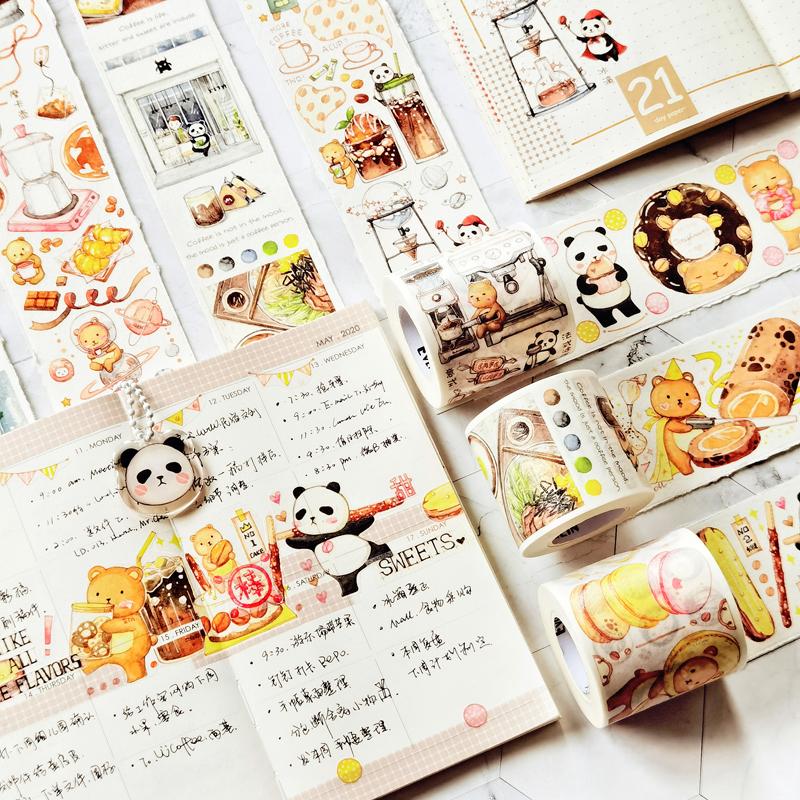 咖啡季 EverEin有熊手帐和纸胶带熊猫甜品童话手账装饰长循环整卷