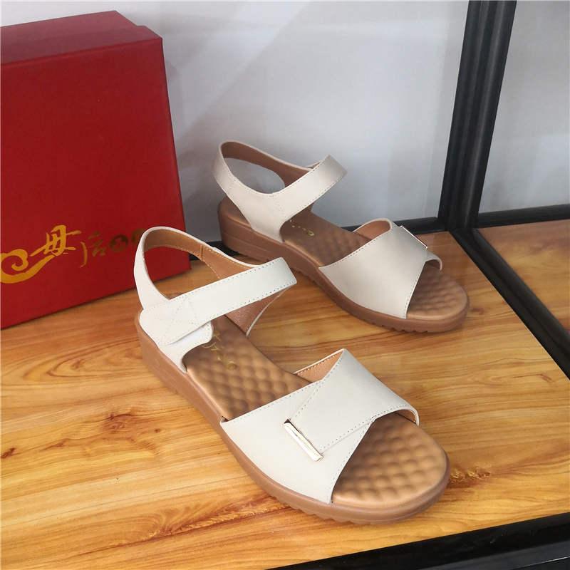 母后女正品凉鞋女鞋牛筋软皮中老年真皮鞋软底品牌底妈妈平底皮鞋