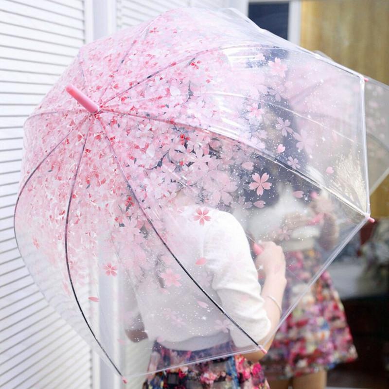 日本樱花伞韩国透明雨伞折叠小学生公主儿童女孩拱形小清新长柄伞