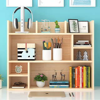 Simple solid wood desk bookshelf student children pine small bookshelf storage rack multi-layer cabinet desktop bay window rack