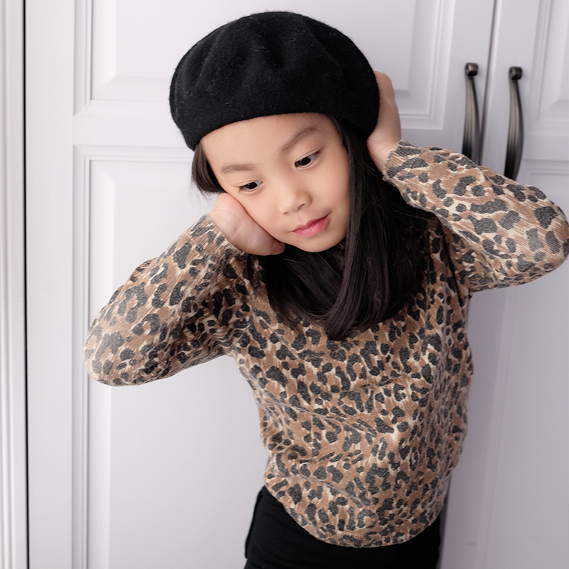 Bbw Qintong Family Childrens Wear And Winter Girl Bottom Shirt Children Leopard Knitted Sweater Baby Sweater
