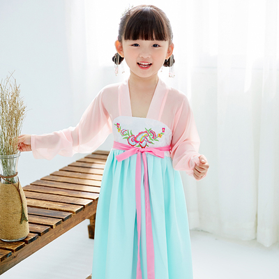 Chinese Folk Dance Dress Children's costume fairy Hanfu girls Tang suit one-piece dress Chinese style Guzheng Hanfu