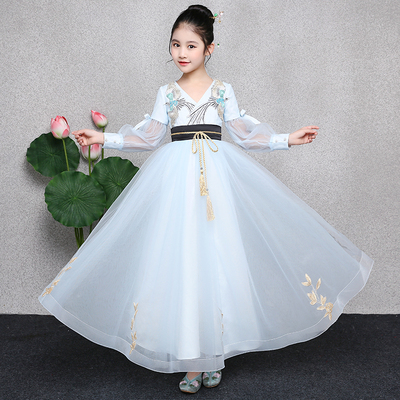 Children's dress Chinese princess dress girl Chinese style Hanfu children costumes host performance gauze