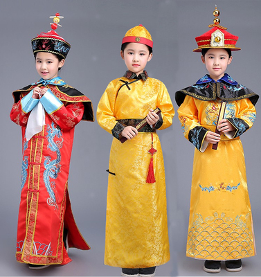 Chinese Folk Dance Children's costumes Qing Dynasty Manchu clothing emperor robes robes costumes children's national costumes
