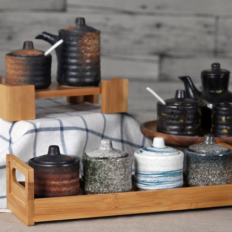 调味罐芥末陶瓷日式调料盒厨房用品创意佐料装套装家用v芥末盒子盒