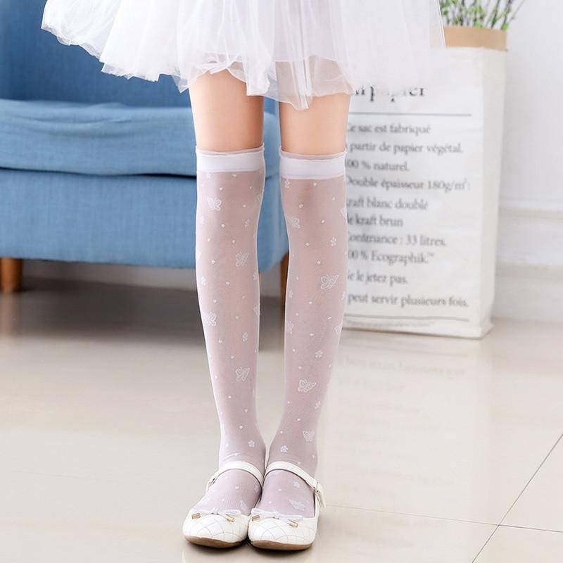 ba50fabe9 Girls stockings baby children s socks over the knee summer thin section  crystal high socks half-length ...