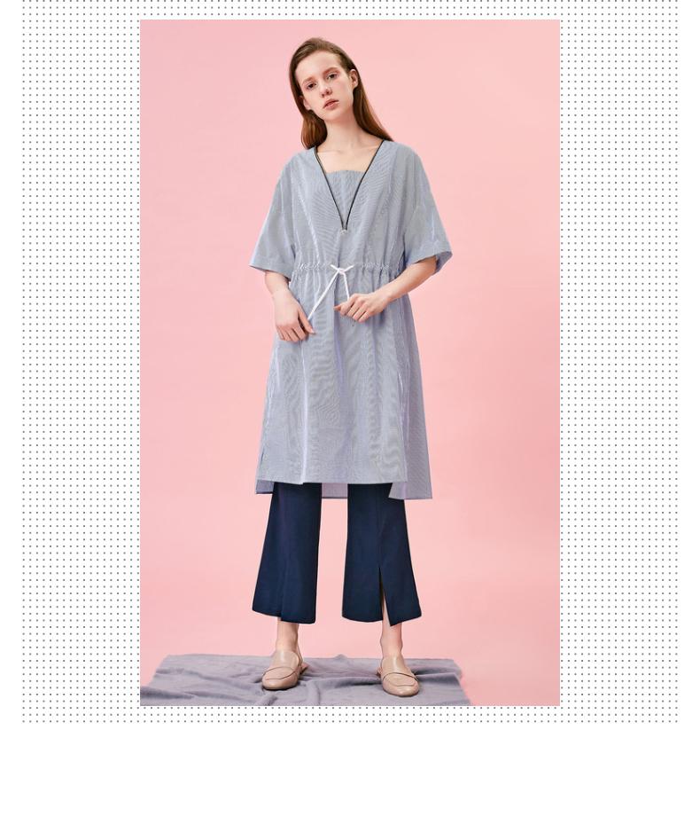 Trung tâm mua sắm với cùng một đoạn thơ Fan Li 2017 mùa hè mới V-cổ dây rút sọc ngắn tay đầm 3170462194711