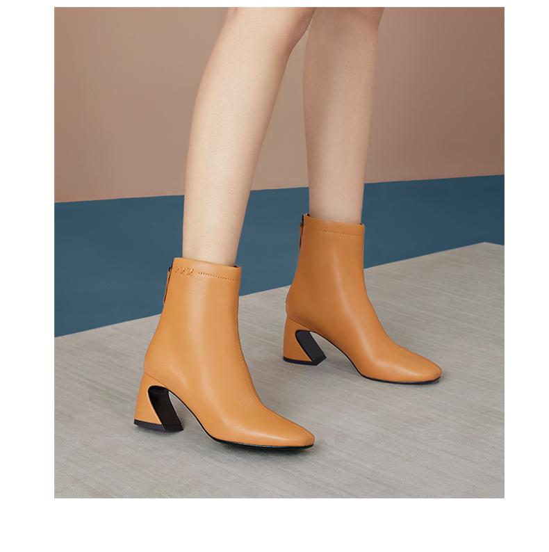 圆头拉链系带马蹄跟时装靴