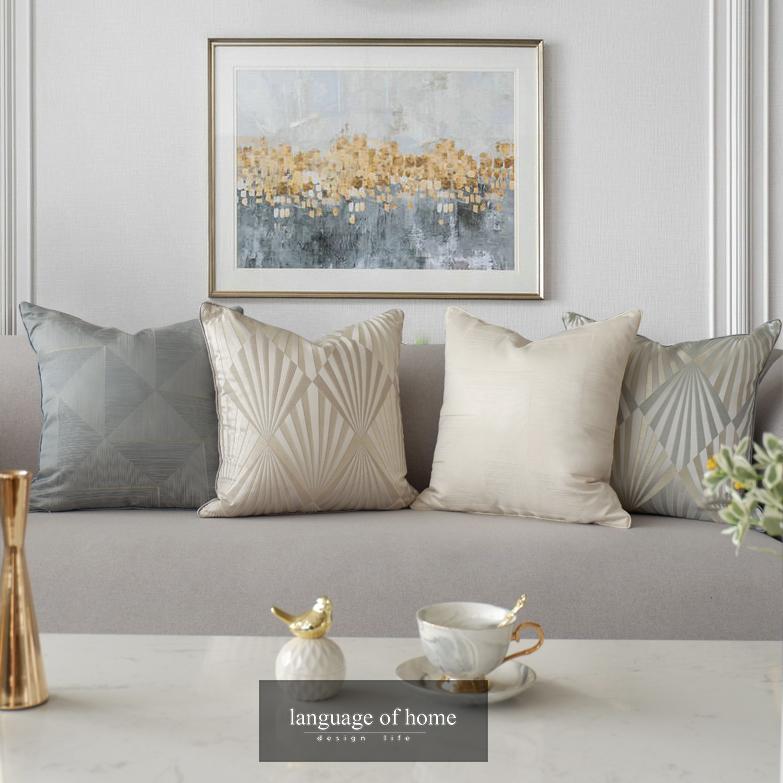 灰色轻奢几何抱枕现代简约靠枕新中式法式美式样板房靠垫床头靠包