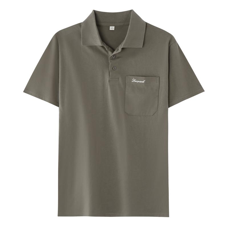 爸爸短袖t恤夏天中年男士polo衫40-50岁纯棉翻领有口袋中老年夏装