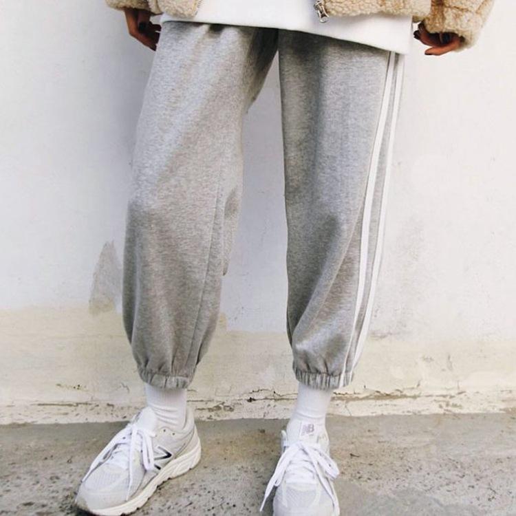 现韩国代购侧条两道杠阔腿直筒薄束脚裤子休闲运动灯笼女韩版宽松