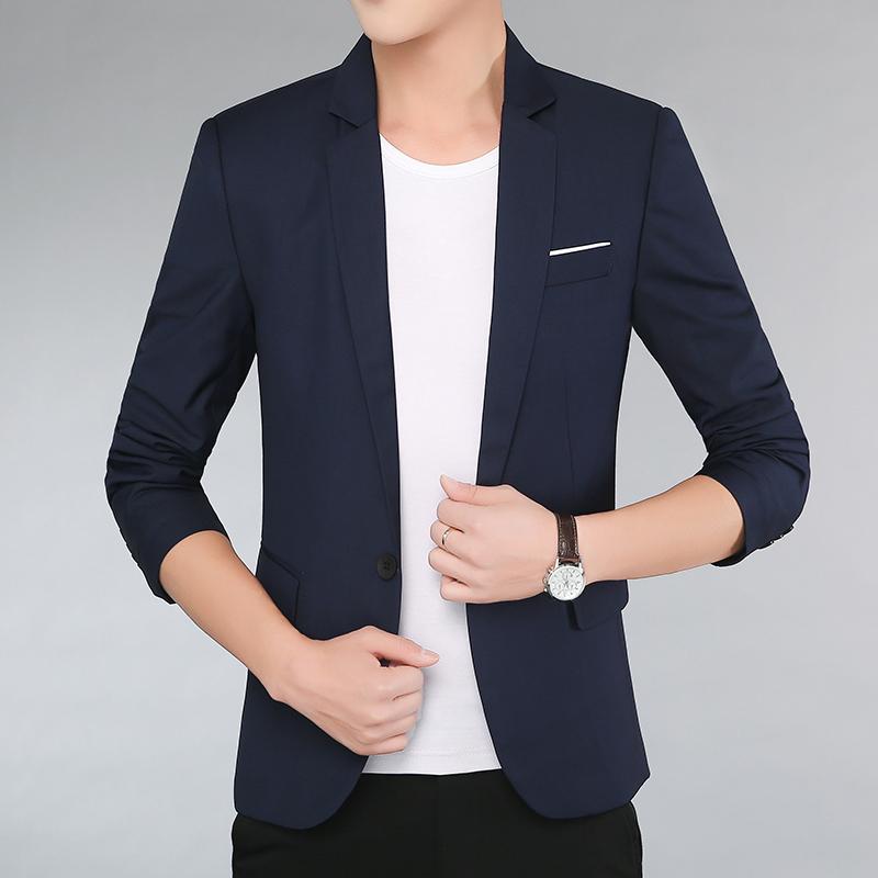 罗蒙迪顿男装 西装男秋季新款纯色长袖正装西服男士商务休闲外套