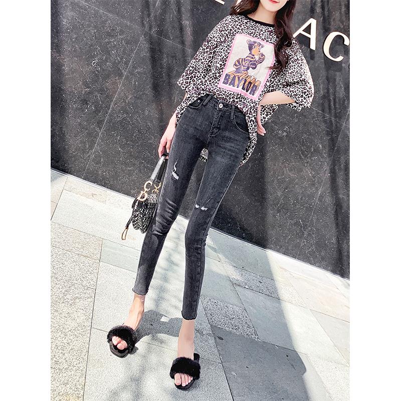 Khói xám lỗ cao eo nhỏ chân quần jeans nữ chín điểm bó sát gầy gò 2020 mùa xuân và hè mới quần bút chì Hàn Quốc - Quần jean