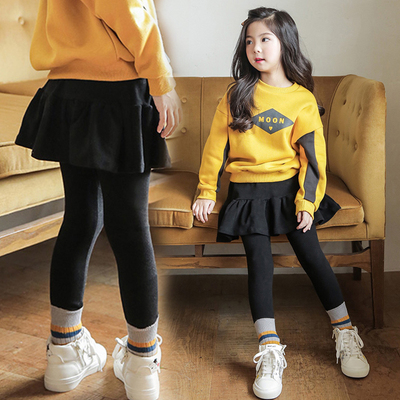 Children's clothing 2017 winter Korean girls cotton plus cashmere leggings pants in the two children's skirts Leggings thick