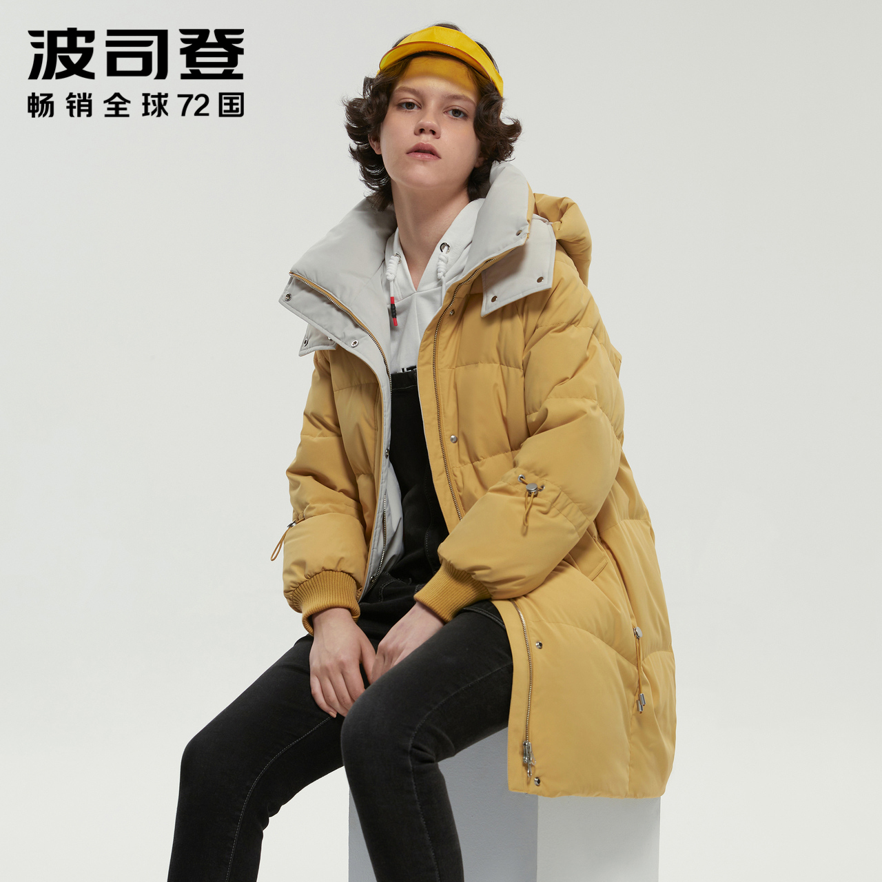 (Bosden) Ms. medium-length fashion small profile hooded straight solid color warm down jacket winter