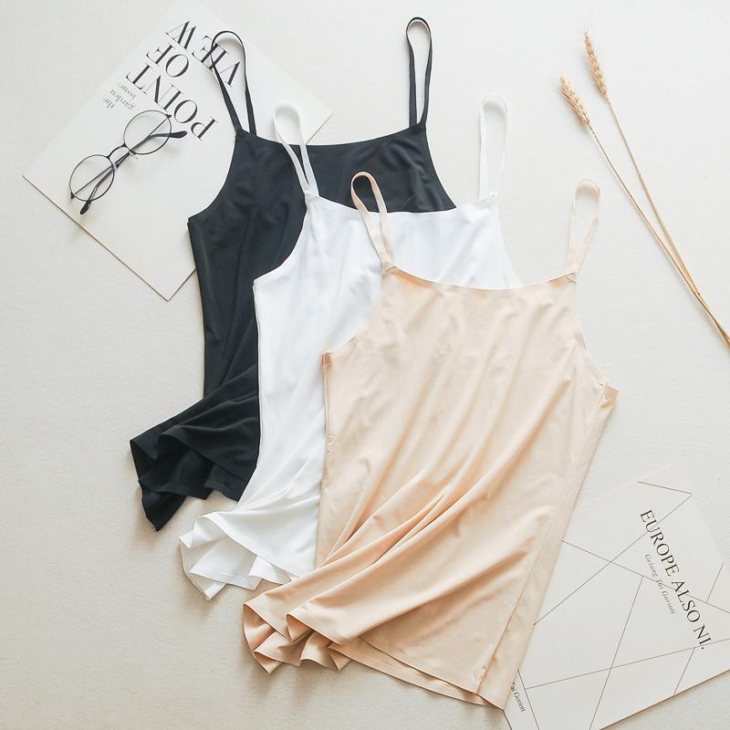 Mùa hè băng lụa không dấu mác đẹp lưng yếm dài ống hàng đầu quấn ngực chống sáng trắng đồ lót nữ - Ống