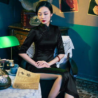 Miss Si high-end black cheongsam daily wear long style young style retro sleeves summer 2020 new style