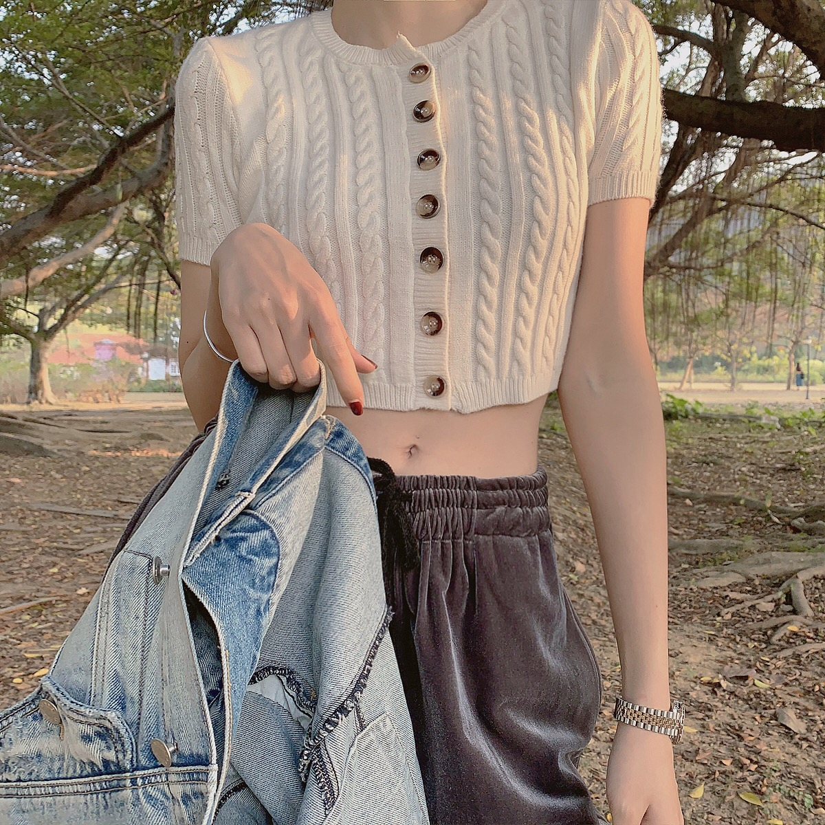 AKSHOP短袖高腰毛衣白色女麻花2020套头港味小款短款修身春装T恤