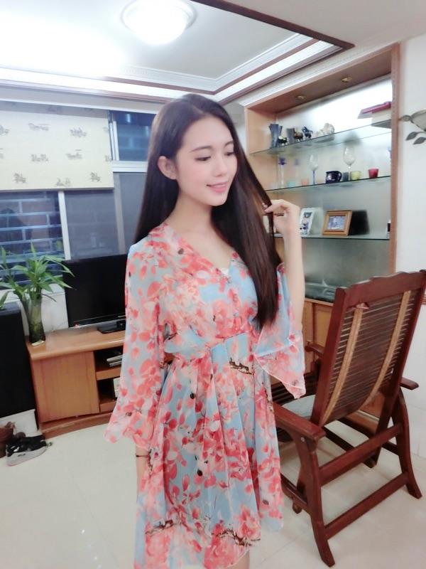 2016夏季女装新款韩版V领荷叶袖宽松收腰雪纺气质中长款连衣裙女