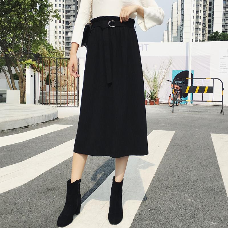 秋季新款加肥加大码女装显瘦高腰针织半身裙胖mm百褶中长裙200斤