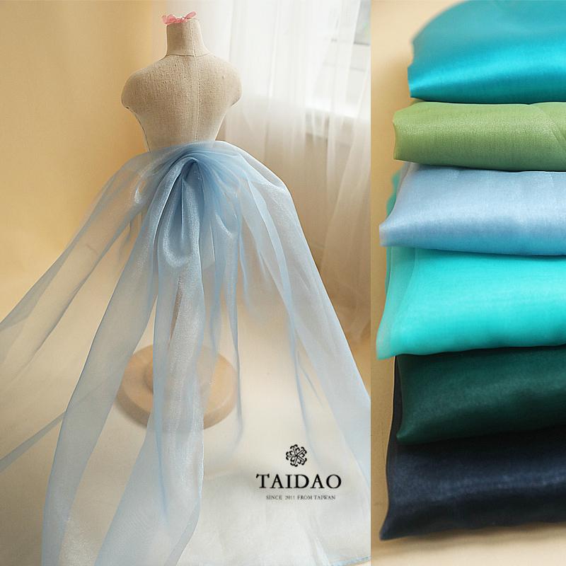 Đài Loan đảo ánh sáng mờ organza vải áo cưới vải rắn màu quần áo vải màu xanh + màu xanh lá cây - Vải vải tự làm