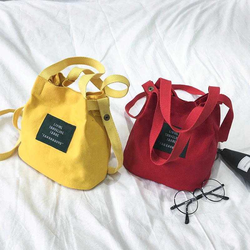 韩版手提袋拎书袋帆布森系单肩文艺小清新简约女生布袋子学生