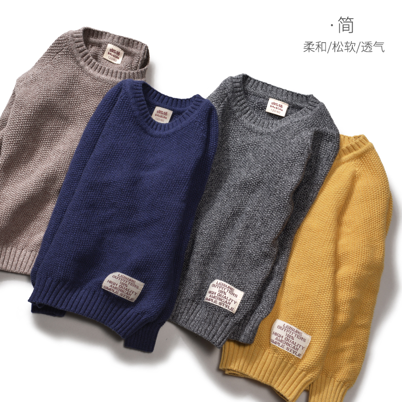 Bambina boys sweater sleeve round collar children's autumn and winter wear children's sweaters in the big child thick knitted sweater sweater hair