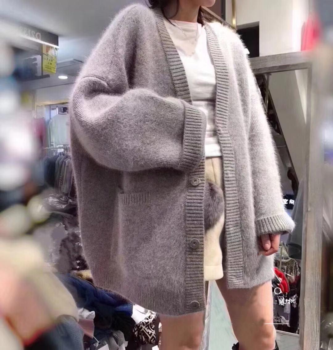 欧洲站2019春款新款欧货水貂绒女装针织外套宽松慵懒貂毛衣开衫潮