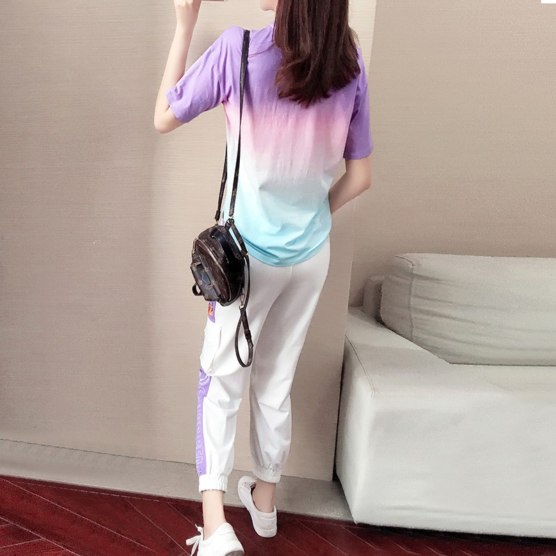 Net red sweet taro purple suit female summer 2020 popular casual sports girlfriend two-piece sister outfit