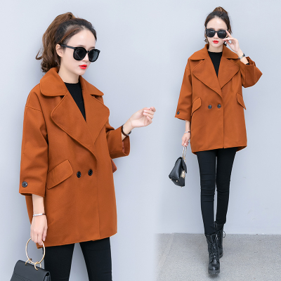 2017 autumn and winter new Korean women loose was thin caramel color coats short section cocoon-type woolen jacket female