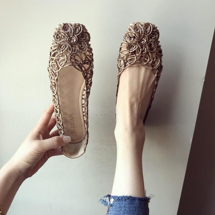 鞋子2020春夏季新款女时尚大码网状镂空方头包头平跟平底凉鞋