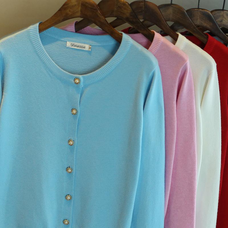 冬圆领长袖纯色加厚针织毛衣开衫女款短外套春季小披肩