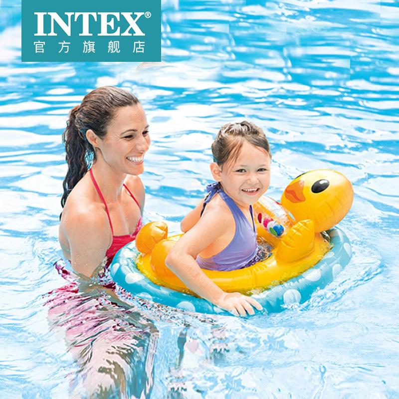 INTEX婴幼儿泳圈玩具儿童卡通动物腋下游泳浮圈坐圈宝宝充气圈