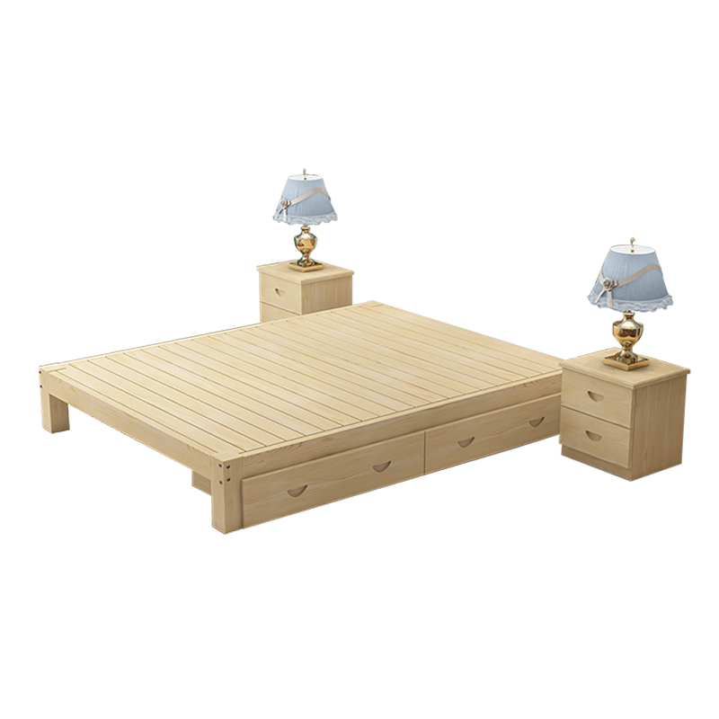 Modern minimalist solid wood pine single bed double bed 1.21.5 ...