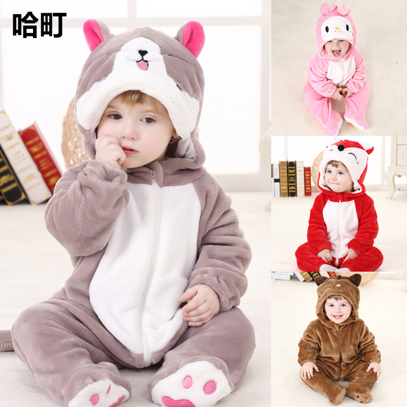 babd11f6 0-1 year old male baby conjoined clothing 6 months female baby clothes  animal spring newborn full moon infants spring and autumn
