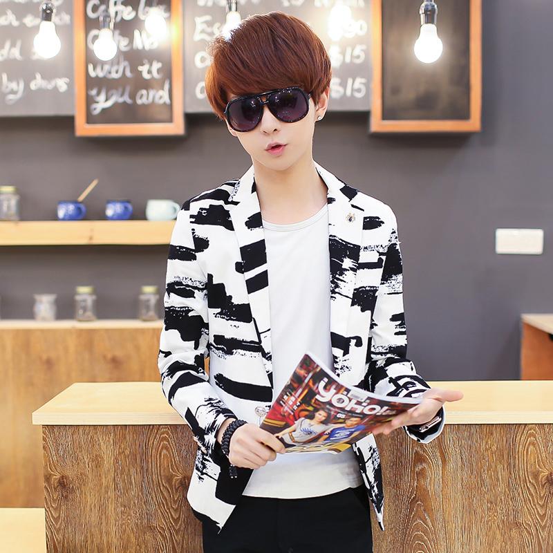 潮流韩版男士小西服男休闲小西装春季发型师时尚英伦修身西装外套