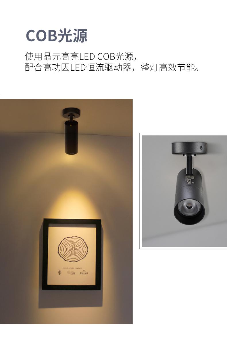 西顿明装射灯无轨道吸顶式客厅背景墙服装店铺商用详细照片