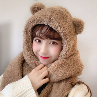 Autumn and winter hat scarf gloves three-piece suit cute student warmth thick plush bear ear scarf