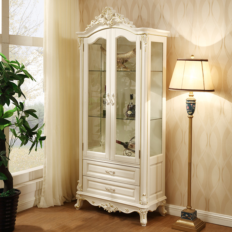 European wine cabinet combination of solid wood French single and double  door living room cabinet glass cabinet French