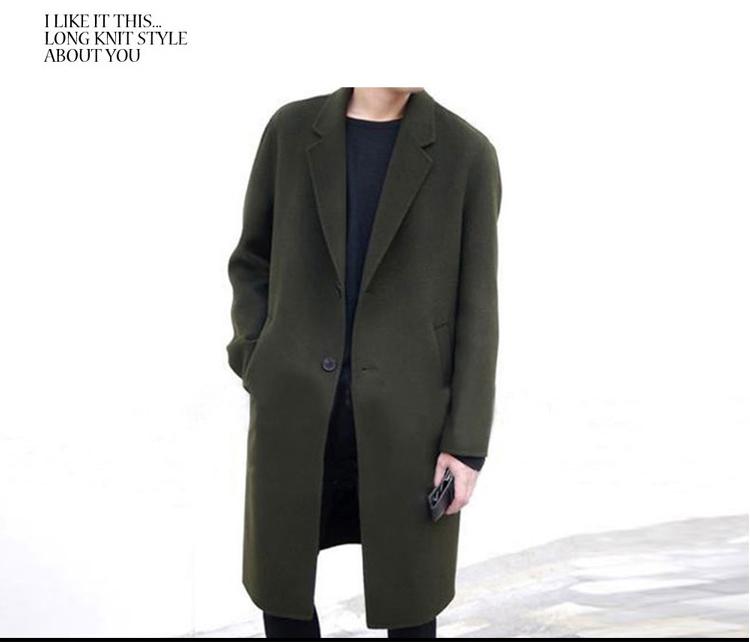 2020秋冬装潮男中长款毛呢风衣韩版修身外套大衣 A450-FY65 P100