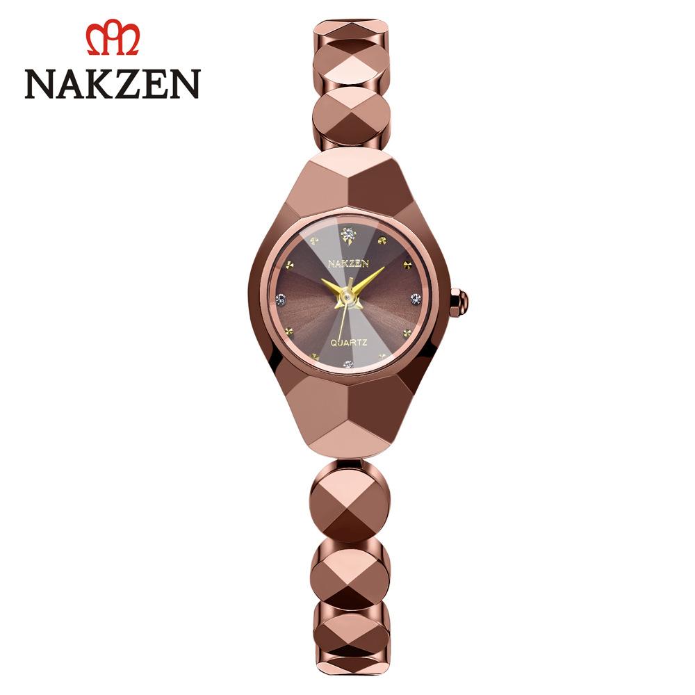日本NAKZEN时尚石英女手表日本机芯日历防水镶钻钨钢表链SS3007L