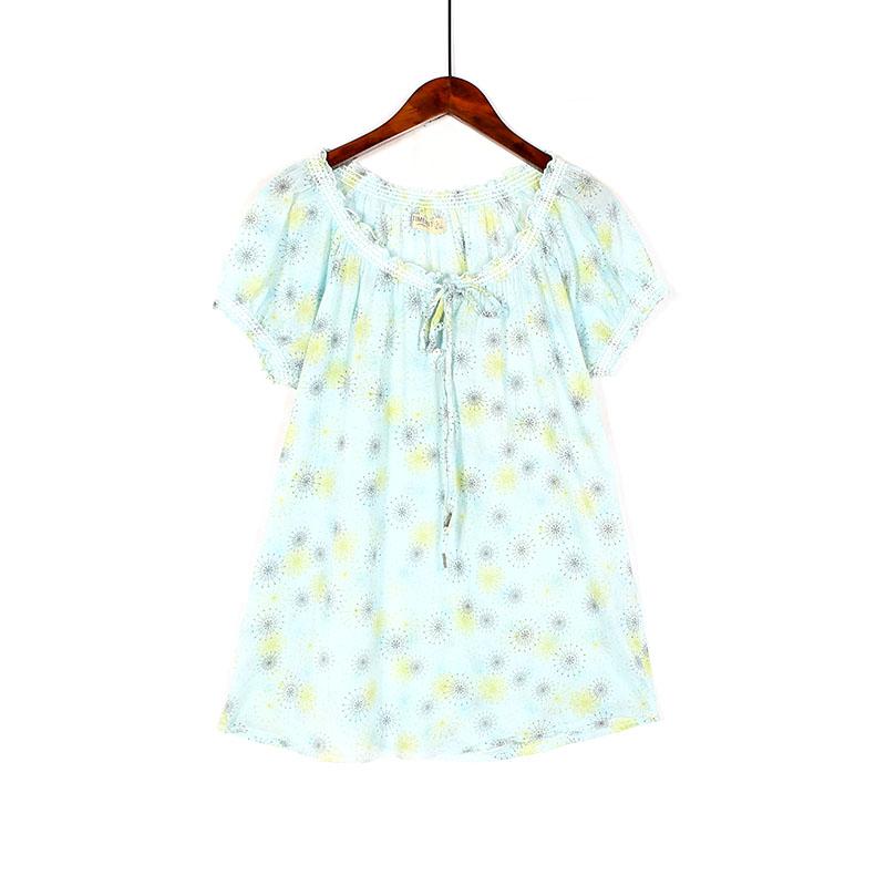 2019夏季女装韩版少女感清新甜美小碎花花边短袖宽松显瘦棉布上衣