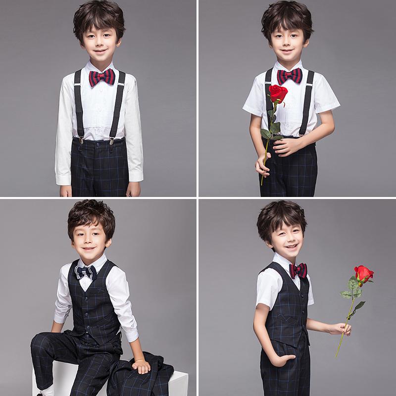 Детские платье мужской корейская версия небольшой европейский покрой комплект Цветочная девушка мужской Детские осенние фортепианные костюмы на мальчика Летние выступления новая коллекция