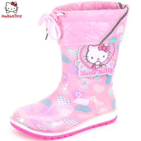 HelloKitty 凯蒂猫 儿童加绒雨鞋 卡通雨靴