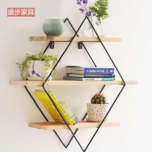 墙上实木隔板置物架多层书架铁艺壁挂墙面墙壁一字搁板挂墙架壁柜