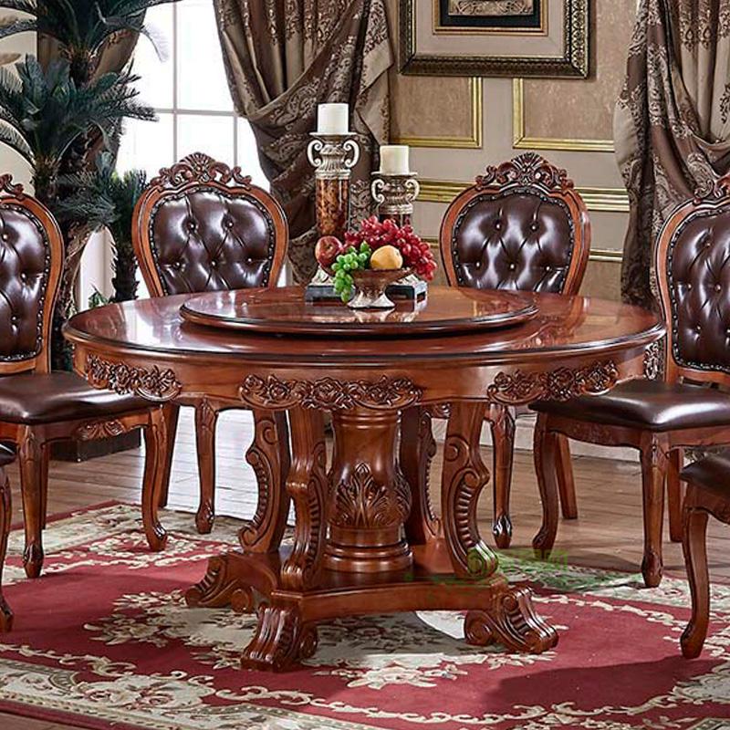 美式仿古歐式餐桌實木圓桌大理石餐桌椅組合6人飯桌子帶轉盤1.8米